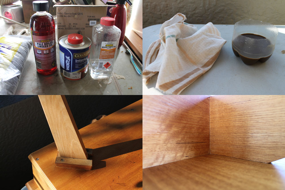 The applying of an oil based finish to a retro coffee table