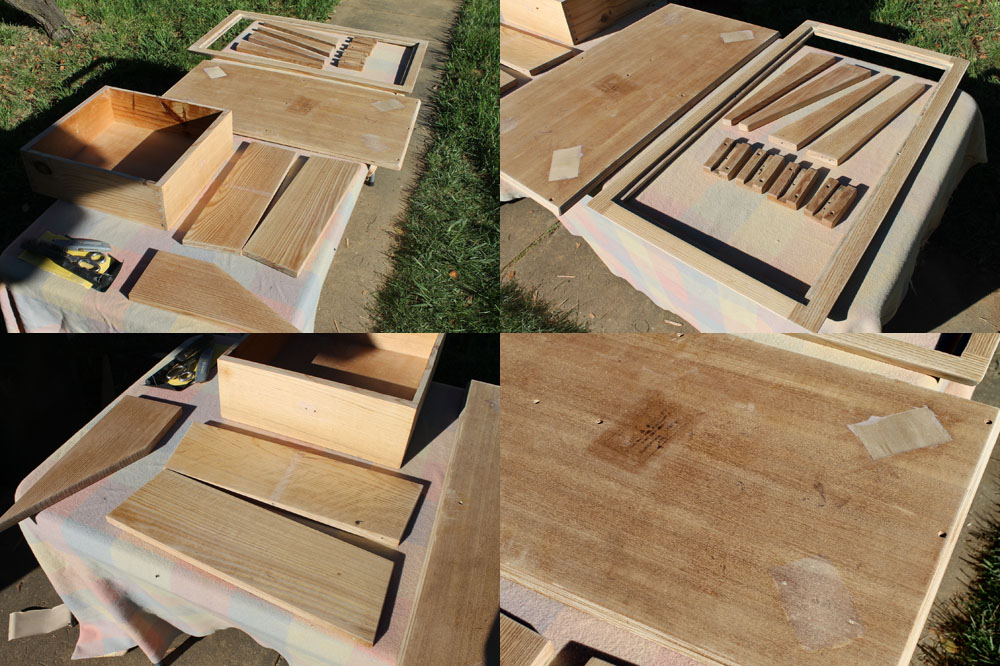 Sanded pieces of a 1960's Coffee Table