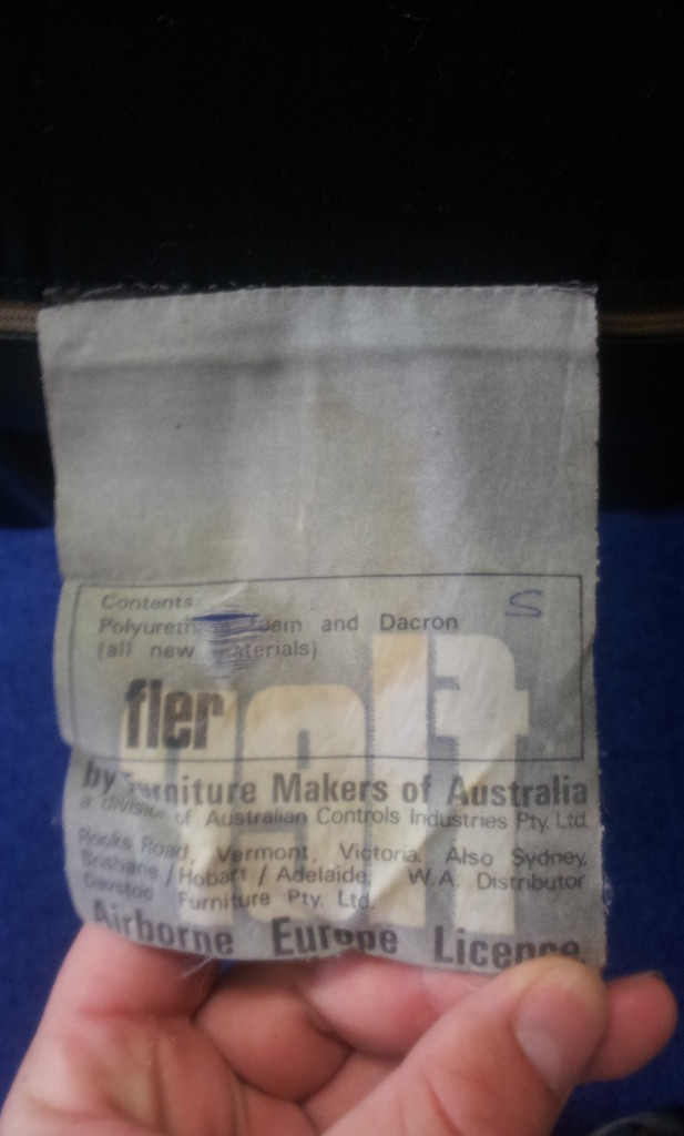Fler label, from the tub style mystery lounge chair.
