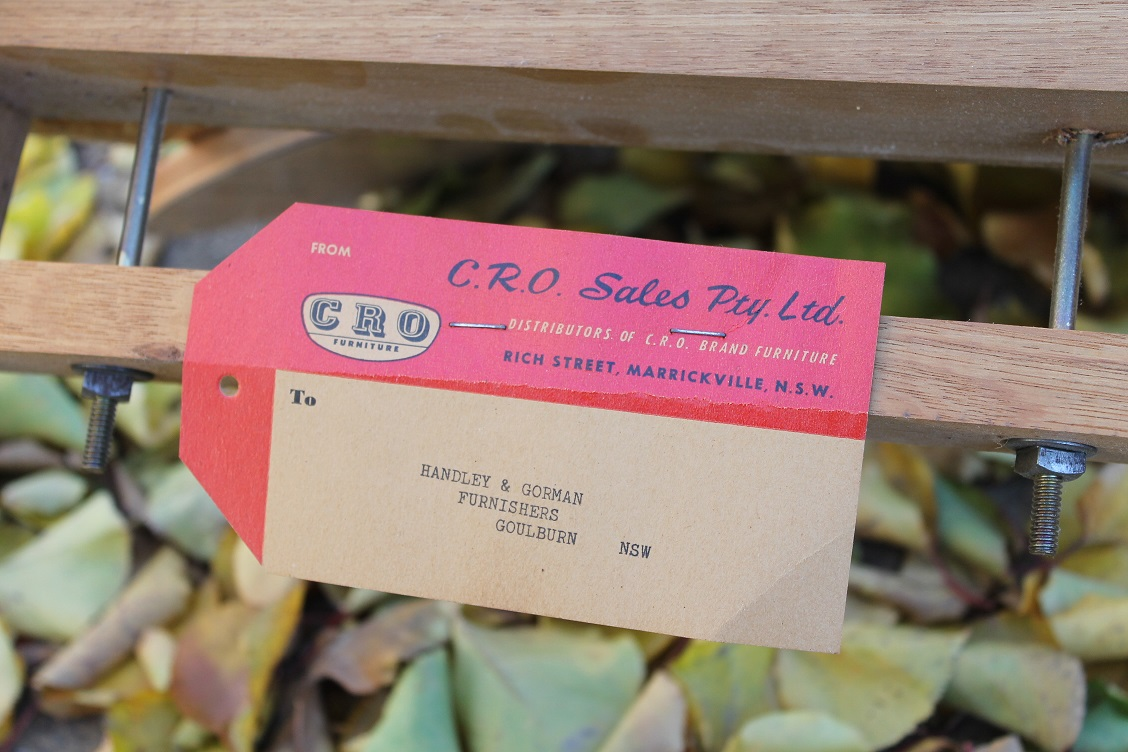 Original mid century paper tag/makers label. CRO of Sydney.